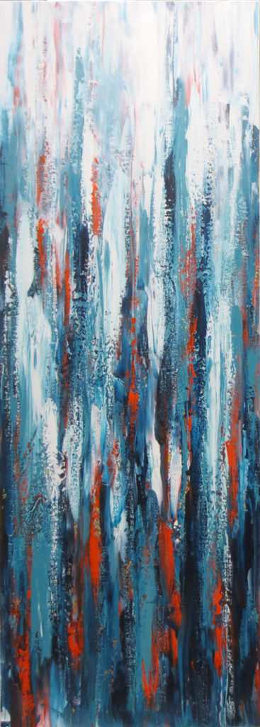 Aqua Orange Abstract Art NZ